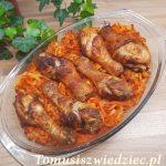 pałki z kurczaka pieczone na ryżu